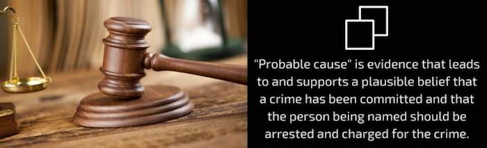 'Probable cause' is evidence that leads to and supports a plausible belief that a crime has been committed and that the person being named should be arrested and charged for the crime.
