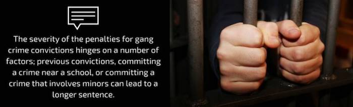 The severity of the penalties for gang crime convictions hinges on a number of factors; previous convictions, committing a crime near a school, or committing a crime that involves minors can lead to a longer sentence.